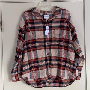 NWT! American Eagle Tan Orange Blue Flannel!